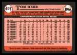 1989 Topps Traded #49 T Tom Herr  Back Thumbnail
