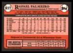 1989 Topps Traded #93 T Rafael Palmeiro  Back Thumbnail