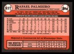 1989 Topps Traded #93 T Rafael Palmeiro  Back Thumbnail