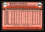 1989 Topps Traded #87 T Eddie Murray  Back Thumbnail