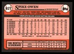 1989 Topps Traded #92 T Spike Owen  Back Thumbnail