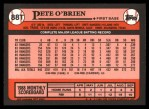 1989 Topps Traded #88 T Pete O'Brien  Back Thumbnail