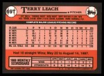 1989 Topps Traded #69 T Terry Leach  Back Thumbnail