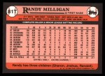 1989 Topps Traded #81 T Randy Milligan  Back Thumbnail
