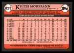 1989 Topps Traded #83 T Keith Moreland  Back Thumbnail