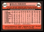 1989 Topps Traded #33 T Felix Fermin  Back Thumbnail