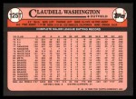 1989 Topps Traded #125 T Claudell Washington  Back Thumbnail