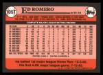 1989 Topps Traded #105 T Ed Romero  Back Thumbnail