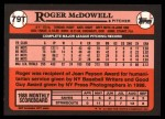 1989 Topps Traded #79 T Roger McDowell  Back Thumbnail