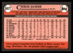 1989 Topps Traded #56 T Chris James  Back Thumbnail