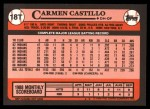 1989 Topps Traded #18 T Carmen Castillo  Back Thumbnail