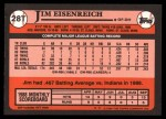 1989 Topps Traded #28 T Jim Eisenreich  Back Thumbnail