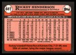 1989 Topps Traded #48 T Rickey Henderson  Back Thumbnail