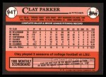 1989 Topps Traded #94 T Clay Parker  Back Thumbnail