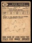1959 Topps #54  Ken Konz  Back Thumbnail