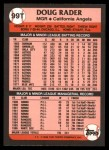 1989 Topps Traded #99 T Doug Rader  Back Thumbnail