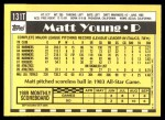 1990 Topps Traded #131 T Matt Young  Back Thumbnail
