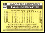 1990 Topps Traded #91 T Pascual Perez  Back Thumbnail
