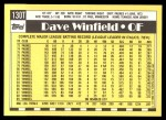 1990 Topps Traded #130 T Dave Winfield  Back Thumbnail