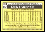 1990 Topps Traded #56 T Rick Leach  Back Thumbnail