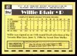 1990 Topps Traded #8 T Willie Blair  Back Thumbnail