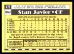 1990 Topps Traded #47 T Stan Javier  Back Thumbnail