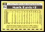1990 Topps Traded #24 T Mark Davis  Back Thumbnail