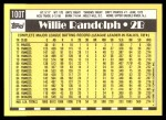 1990 Topps Traded #100 T Willie Randolph  Back Thumbnail