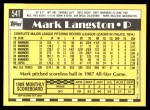 1990 Topps Traded #54 T Mark Langston  Back Thumbnail