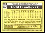1990 Topps Traded #44 T Todd Hundley  Back Thumbnail