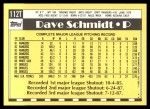 1990 Topps Traded #112 T Dave Schmidt  Back Thumbnail
