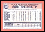 1991 Topps Traded #31 T Rich DeLucia  Back Thumbnail