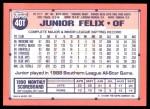 1991 Topps Traded #40 T Junior Felix  Back Thumbnail
