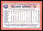1991 Topps Traded #81 T Orlando Merced  Back Thumbnail