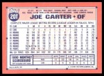 1991 Topps Traded #20 T Joe Carter  Back Thumbnail