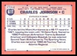 1991 Topps Traded #61 T  -  Charles Johnson Team USA Back Thumbnail