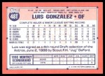 1991 Topps Traded #48 T Luis Gonzalez  Back Thumbnail