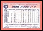1991 Topps Traded #1 T Juan Agosto  Back Thumbnail