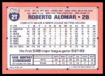 1991 Topps Traded #2 T Roberto Alomar  Back Thumbnail