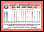 1991 Topps Traded #9 T Rafael Belliard  Back Thumbnail