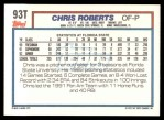 1992 Topps Traded #93 T  -  Chris Roberts Team USA Back Thumbnail