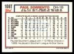 1992 Topps Traded #108 T Paul Sorrento  Back Thumbnail