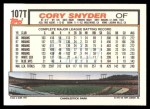 1992 Topps Traded #107 T Cory Snyder  Back Thumbnail