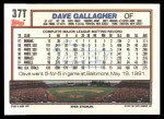 1992 Topps Traded #37 T Dave Gallagher  Back Thumbnail