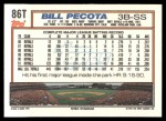 1992 Topps Traded #86 T Bill Pecota  Back Thumbnail