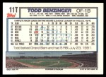 1992 Topps Traded #11 T Todd Benzinger  Back Thumbnail