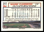 1992 Topps Traded #21 T Mark Carreon  Back Thumbnail