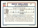 1992 Topps Traded #48 T  -  Rick Helling Team USA Back Thumbnail