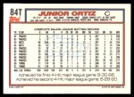 1992 Topps Traded #84 T Junior Ortiz  Back Thumbnail