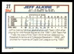 1992 Topps Traded #2 T  -  Jeff Alkire Team USA Back Thumbnail